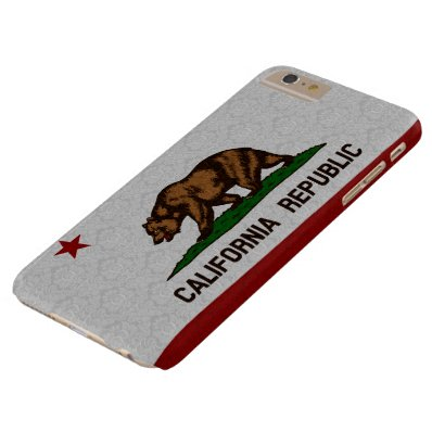 Vintage Damask Flag of California Republic Pattern Barely There iPhone 6 Plus Case