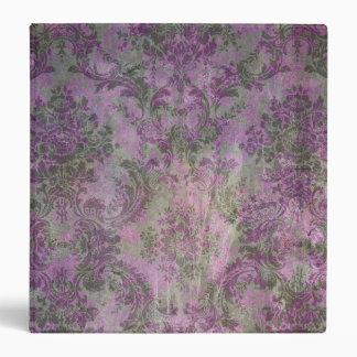 Vintage Damask Floral Binder Purple Green