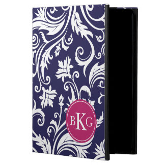 Vintage Damask Floral Pattern | Navy Berry Pink iPad Air Covers