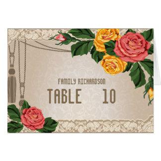 Vintage Damask Floral Wedding Table Numbers Card
