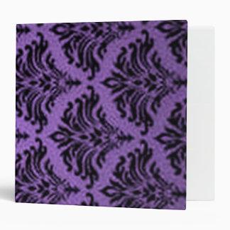 Vintage Damask Flourish Purple and Black 3 Ring Binders