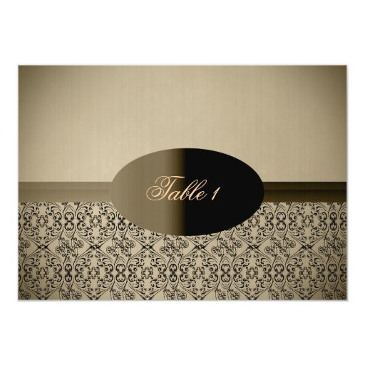 Vintage Damask Formal Matching Table Card Personalized Announcement