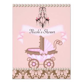 "VINTAGE DAMASK GIRL BABY Shower INVITATIONS 4.25"" X 5.5"" Invitation Card"