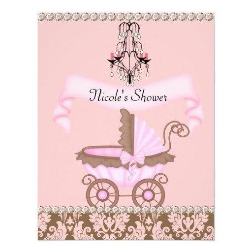 Baby Shower Invitations Girl Vintage ~ Vintage damask girl baby shower invitations zazzle