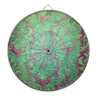 Vintage damask green red nouveau style textile fun dartboard