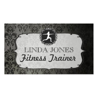 Vintage Damask Gym Yoga Fitness Trainer Cards Double-Sided Standard Business Cards (Pack Of 100)