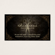 Vintage Damask Hair Stylist Salon Appointment Business Card at Zazzle