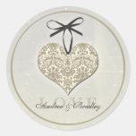 Vintage Damask Heart Grey Personalized Wedding Classic Round Sticker