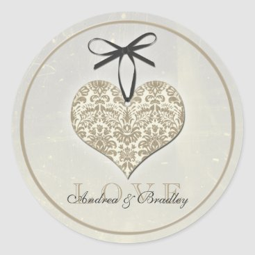 Valentines Themed Vintage Damask Heart Grey Personalized Wedding Classic Round Sticker