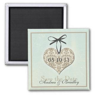 Vintage Damask Heart Monogram Wedding Magnet