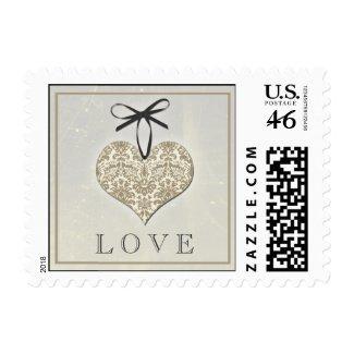 Vintage Damask Heart Postage stamp