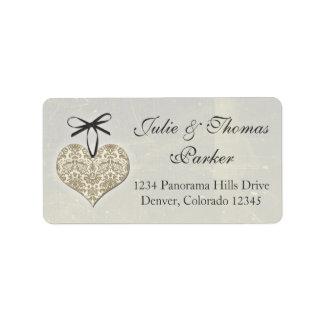 Vintage Damask Heart Silver Gold Wedding Address Label