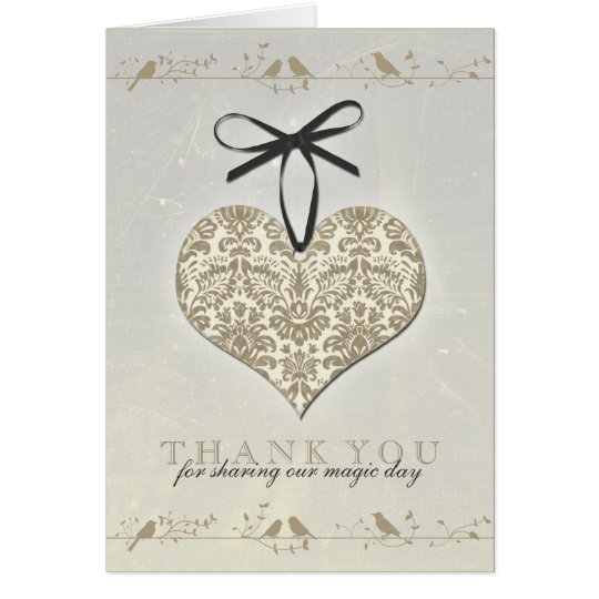 Vintage Damask Heart Silver Gold Wedding Thank You Card