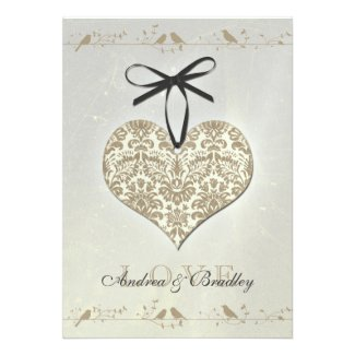 Vintage Damask Heart Wedding Invitation
