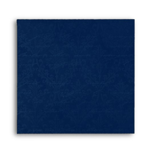Vintage Damask in Dark Navy Blue: Linen A-7 Envelope