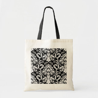 Vintage Damask in White and Black Canvas Bag