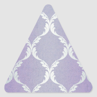 Vintage damask indigo silver worn wall paper chic triangle sticker