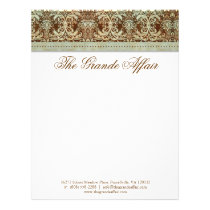 Vintage Damask Letterhead Brown Green