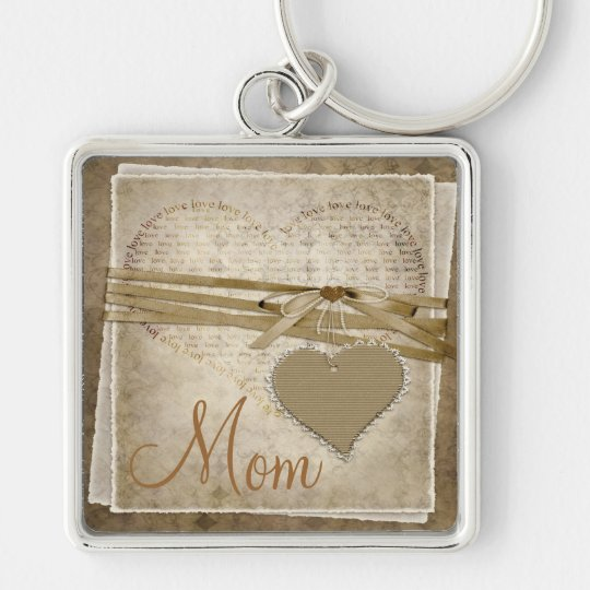 Vintage Damask Love Paper & Hearts Mom Key Chain