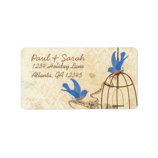 Vintage Damask Lucky Bluebirds Brown Bird Cage