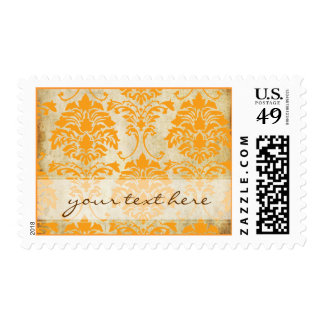 Vintage Damask, mandarin orange Postage Stamp