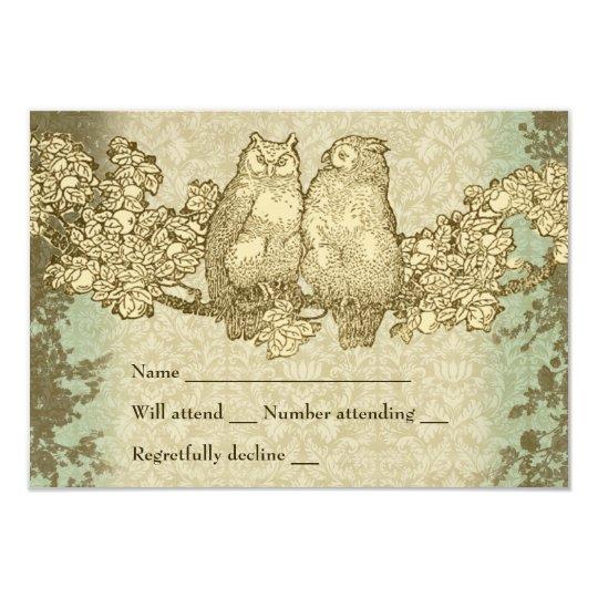 Vintage Damask Mr. and Mrs. Owl rsvp with envelope Card