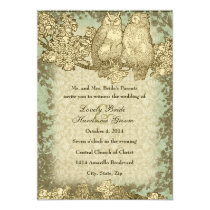Vintage Damask Mr. and Mrs. Owl Wedding Invitation