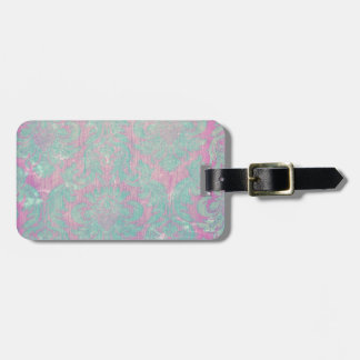 vintage damask nouveau teal pink chic tapestry tag for luggage