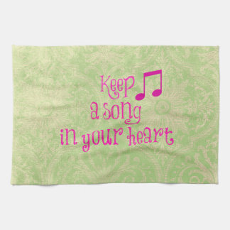 Vintage Damask Paper with Song in your Heart Quote Hand Towel