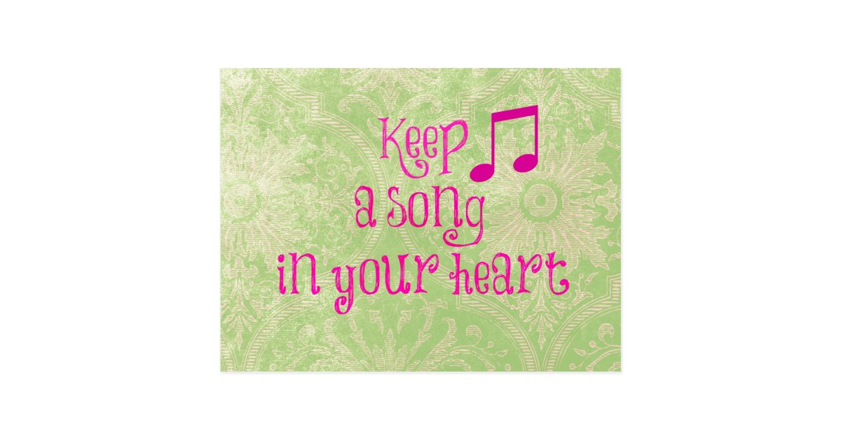 Vintage Damask Paper With Song In Your Heart Quote Postcard Zazzlecom