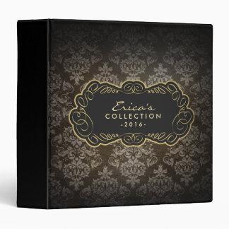 Vintage Damask Pattern Black & Gold Elegant 3 Ring Binder