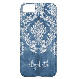 Vintage Damask Pattern - Grungy Sapphire Blue Case For iPhone 5C