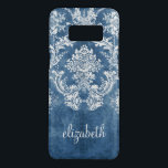 "Vintage Damask Pattern - Grungy Sapphire Blue Case-Mate Samsung Galaxy S8 Case<br><div class=""desc"">A vintage pattern with a chalkboard and lace design. Look closely to the flowers and leaves. A trendy design with jewel tone colors and elegance. Items are easier to customize when you replace all text and photos first. If your art still needs to be adjusted, click on the Customize This...</div>"