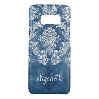 Vintage Damask Pattern - Grungy Sapphire Blue Case-Mate Samsung Galaxy S8 Case