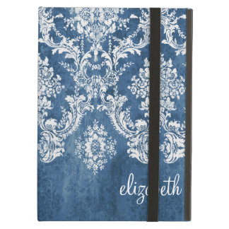 Vintage Damask Pattern - Grungy Sapphire Blue iPad Air Cover