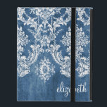 "Vintage Damask Pattern - Grungy Sapphire Blue iPad Cover<br><div class=""desc"">A vintage pattern with a chalkboard and lace design. Look closely to the flowers and leaves. A trendy design with jewel tone colors and elegance. Items are easier to customize when you replace all text and photos first. If your art still needs to be adjusted, click on the Customize This...</div>"