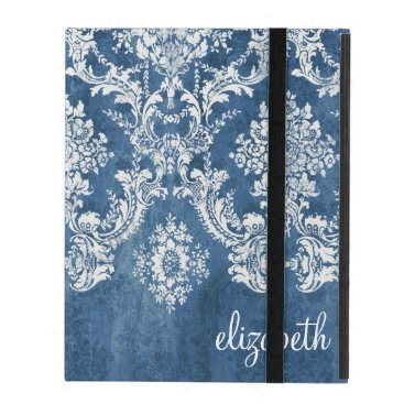 icases Vintage Damask Pattern - Grungy Sapphire Blue iPad Cover