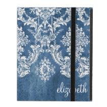 Vintage Damask Pattern - Grungy Sapphire Blue iPad Folio Case