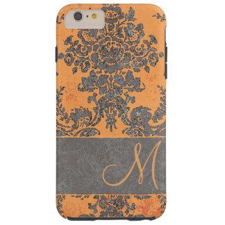Vintage Damask Pattern Orange Monogram Tough iPhone 6 Plus Case
