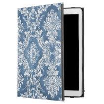 "Vintage Damask Pattern - Sapphire Blue White iPad Pro 12.9"" Case"