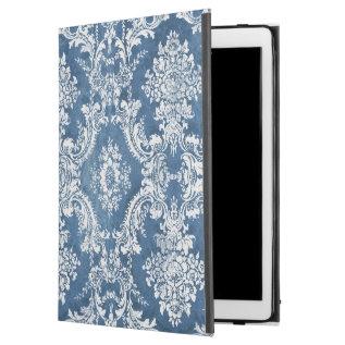 Vintage Damask Pattern - Sapphire Blue White Ipad Pro 12.9
