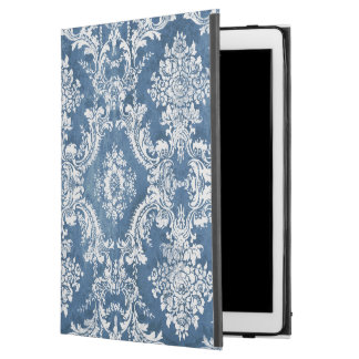 Vintage Damask Pattern - Sapphire Blue White iPad Pro Case