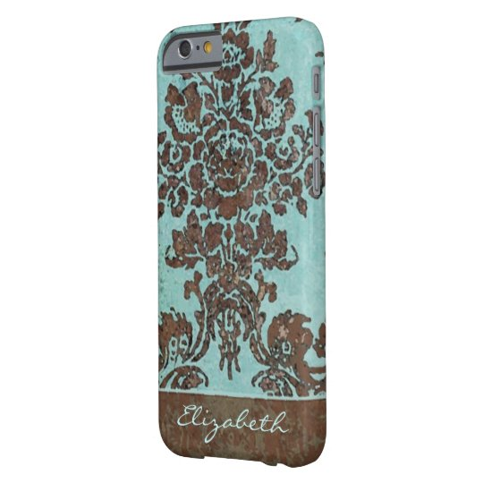 Vintage Damask Pattern with Area for Name Barely There iPhone 6 Case