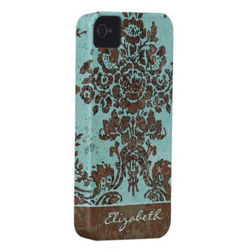Vintage Damask Pattern with Area for Name iPhone 4 Case-Mate Case
