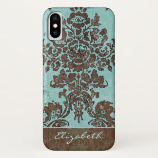 Vintage Damask Pattern with Area for Name iPhone X Case