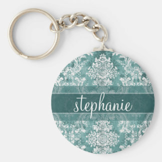 Vintage Damask Pattern with Grungy Finish Basic Round Button Keychain