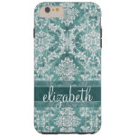Vintage Damask Pattern with Grungy Finish Tough iPhone 6 Plus Case