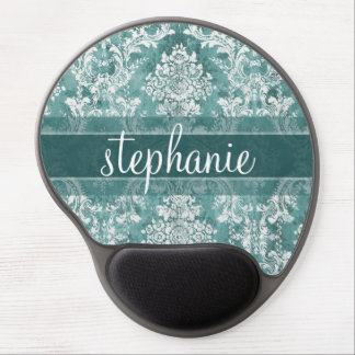 Vintage Damask Pattern with Grungy Finish Gel Mouse Pad