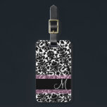 """Vintage Damask Pattern with Monogram Bag Tag<br><div class=""""desc"""">An elegant way to travel - with black and white damasks. Add your name or monogram on the front.</div>"""
