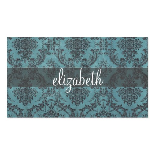 Vintage Damask Pattern with Monogram Business Card Templates